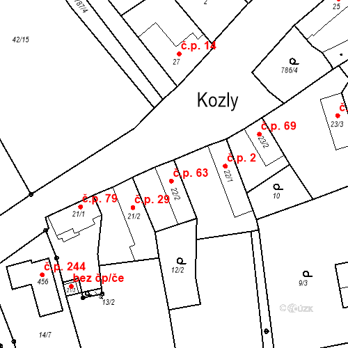 Katastrální mapa Stavební objekt Kozly 63, Tišice