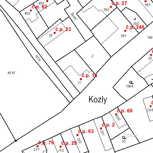 Katastrální mapa Stavební objekt Kozly 14, Tišice