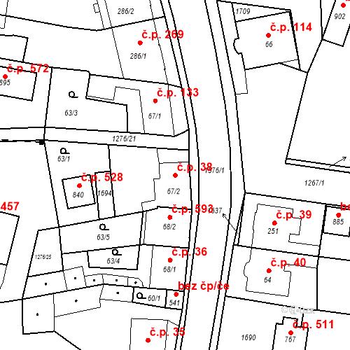 Katastrální mapa Stavební objekt Bystřice 38, Bystřice