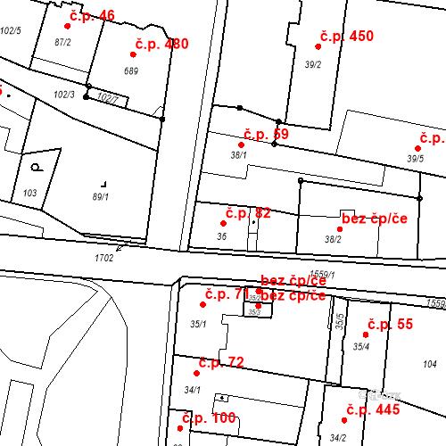 Katastrální mapa Stavební objekt Bystřice 82, Bystřice