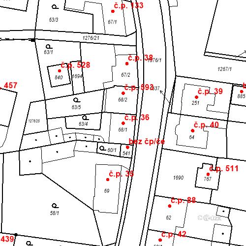 Katastrální mapa Stavební objekt Bystřice 36, Bystřice