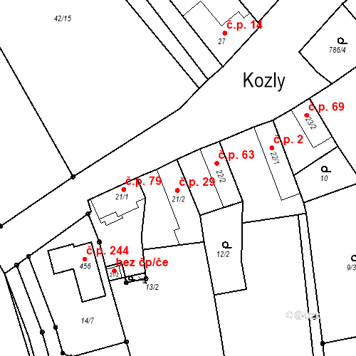 Katastrální mapa Stavební objekt Kozly 29, Tišice