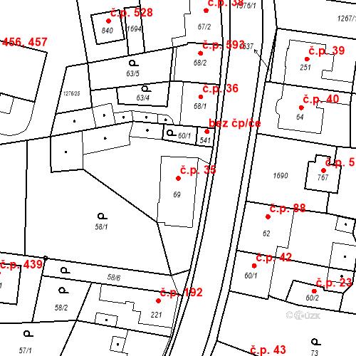 Katastrální mapa Stavební objekt Bystřice 35, Bystřice