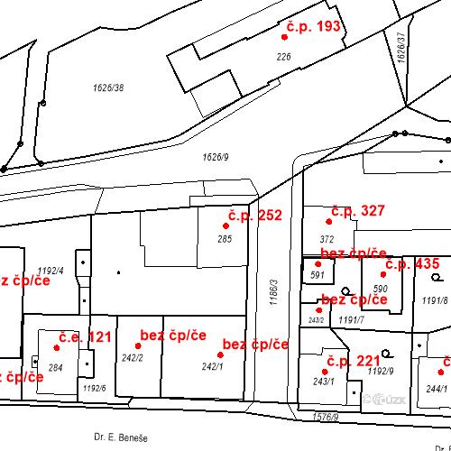 Katastrální mapa Stavební objekt Bystřice 252, Bystřice