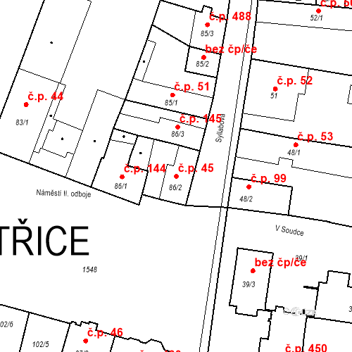 Katastrální mapa Stavební objekt Bystřice 45, Bystřice
