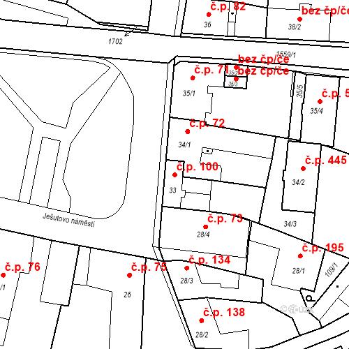 Katastrální mapa Stavební objekt Bystřice 100, Bystřice