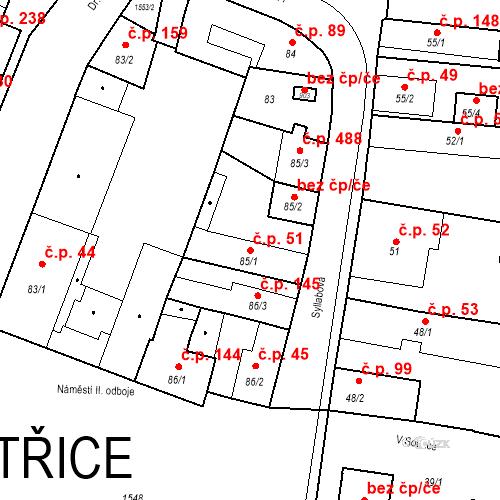 Katastrální mapa Stavební objekt Bystřice 51, Bystřice