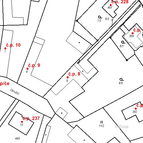 Katastrální mapa Stavební objekt Tišice 8, Tišice