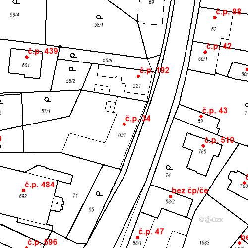 Katastrální mapa Stavební objekt Bystřice 34, Bystřice