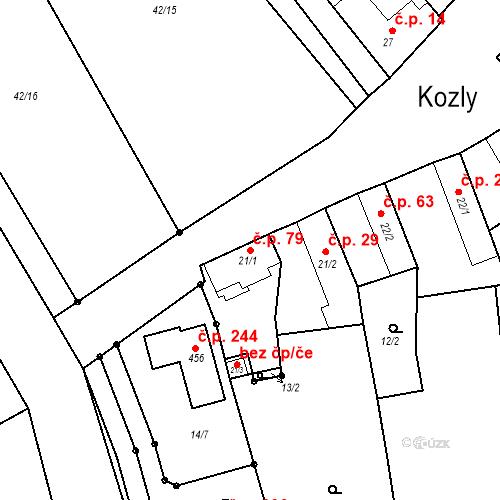 Katastrální mapa Stavební objekt Kozly 79, Tišice