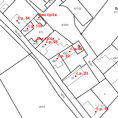 Katastrální mapa Stavební objekt Kozly 62, Tišice