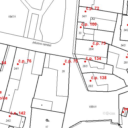 Katastrální mapa Stavební objekt Bystřice 75, Bystřice