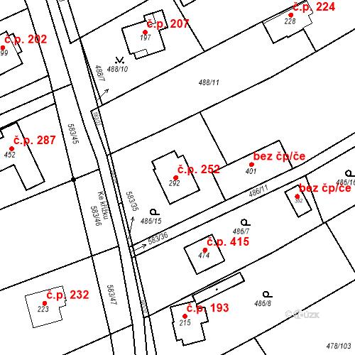 Katastrální mapa Stavební objekt Chrást 252, Tišice