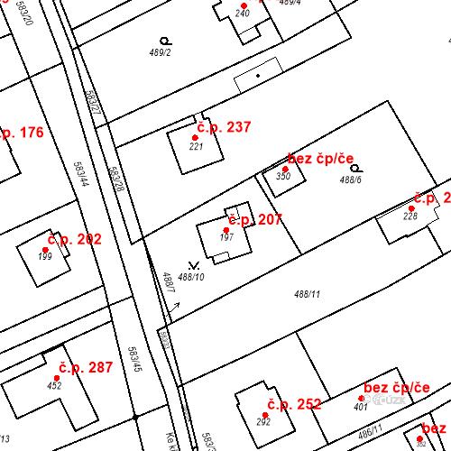 Katastrální mapa Stavební objekt Chrást 207, Tišice