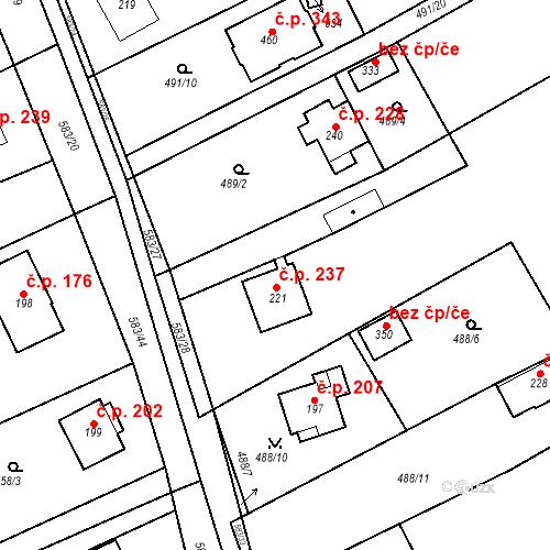 Katastrální mapa Stavební objekt Chrást 237, Tišice