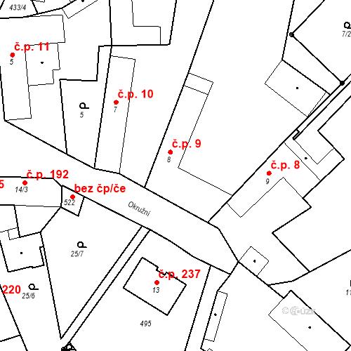 Katastrální mapa Stavební objekt Tišice 9, Tišice
