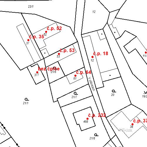 Katastrální mapa Stavební objekt Tišice 64, Tišice