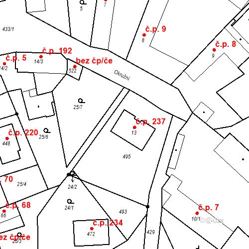 Katastrální mapa Stavební objekt Tišice 237, Tišice