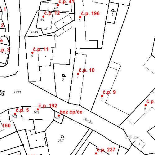 Katastrální mapa Stavební objekt Tišice 10, Tišice