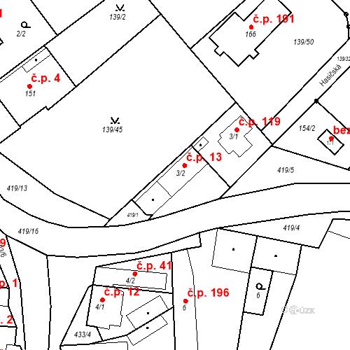 Katastrální mapa Stavební objekt Tišice 13, Tišice