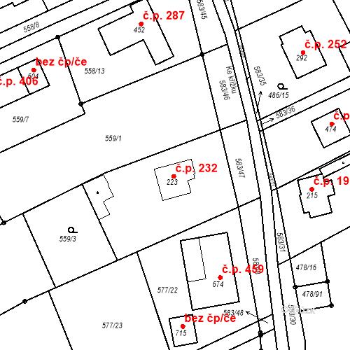 Katastrální mapa Stavební objekt Chrást 232, Tišice