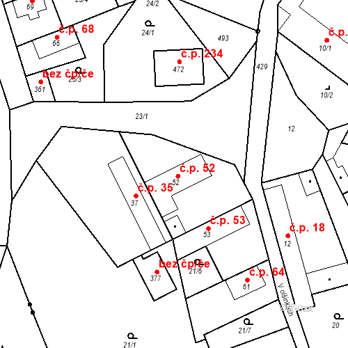 Katastrální mapa Stavební objekt Tišice 52, Tišice