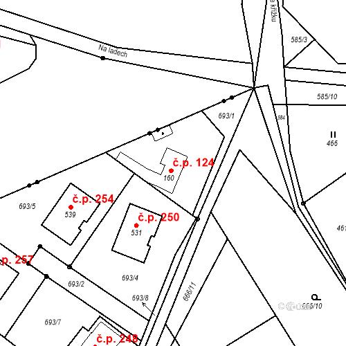 Katastrální mapa Stavební objekt Kozly 124, Tišice