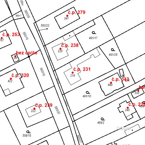 Katastrální mapa Stavební objekt Chrást 231, Tišice