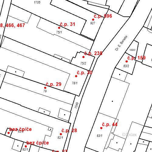 Katastrální mapa Stavební objekt Bystřice 30, Bystřice
