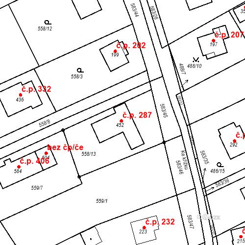 Katastrální mapa Stavební objekt Chrást 287, Tišice