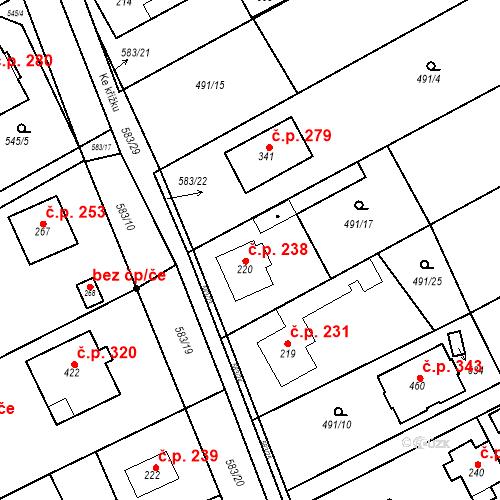 Katastrální mapa Stavební objekt Chrást 238, Tišice