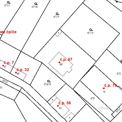 Katastrální mapa Stavební objekt Kozly 67, Tišice