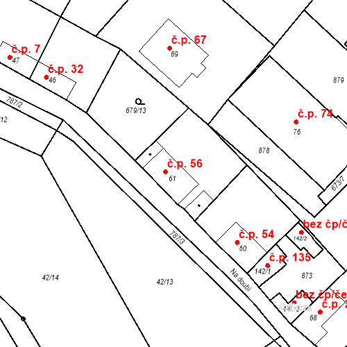 Katastrální mapa Stavební objekt Kozly 56, Tišice