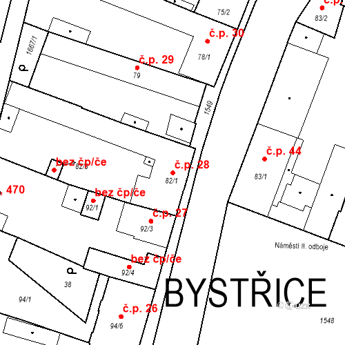 Katastrální mapa Stavební objekt Bystřice 28, Bystřice