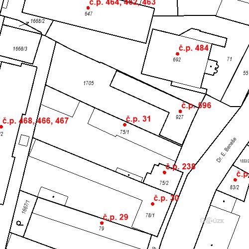 Katastrální mapa Stavební objekt Bystřice 31, Bystřice
