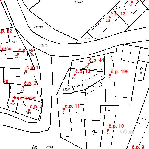 Katastrální mapa Stavební objekt Tišice 12, Tišice