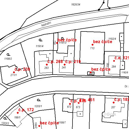 Katastrální mapa Stavební objekt Bystřice 219, Bystřice