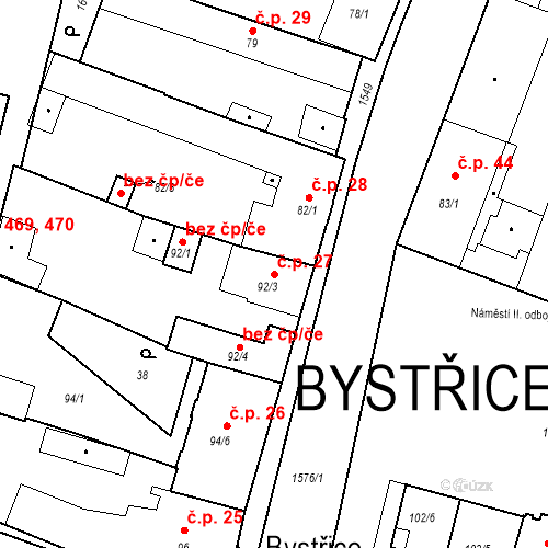 Katastrální mapa Stavební objekt Bystřice 27, Bystřice