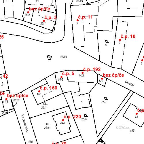 Katastrální mapa Stavební objekt Tišice 192, Tišice