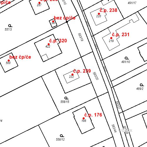 Katastrální mapa Stavební objekt Chrást 239, Tišice