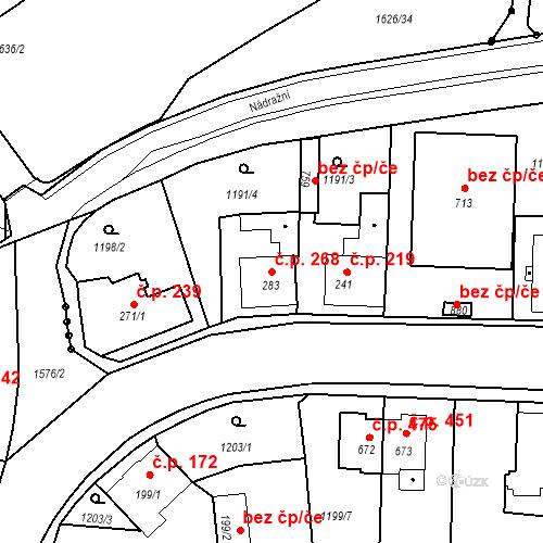 Katastrální mapa Stavební objekt Bystřice 268, Bystřice