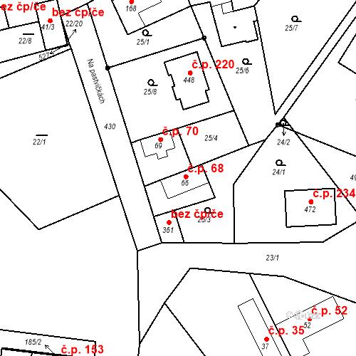 Katastrální mapa Stavební objekt Tišice 68, Tišice