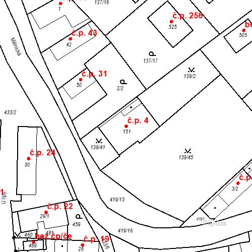 Katastrální mapa Stavební objekt Tišice 4, Tišice