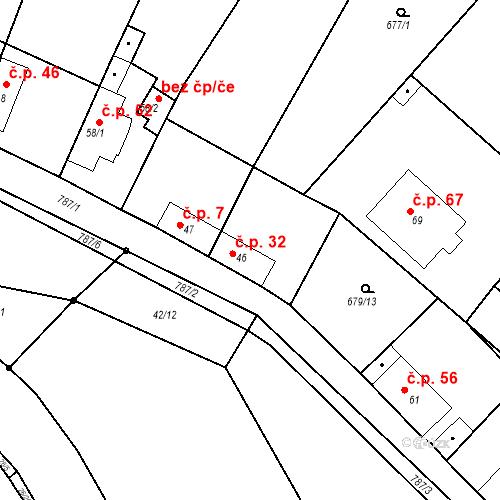 Katastrální mapa Stavební objekt Kozly 32, Tišice