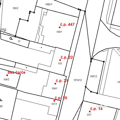 Katastrální mapa Stavební objekt Bystřice 22, Bystřice
