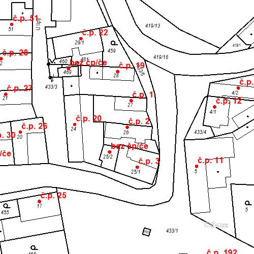 Katastrální mapa Stavební objekt Tišice 2, Tišice