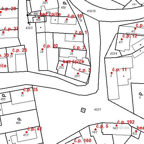 Katastrální mapa Stavební objekt Tišice 3, Tišice