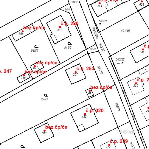 Katastrální mapa Stavební objekt Chrást 253, Tišice