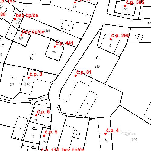 Katastrální mapa Stavební objekt Bystřice 81, Bystřice