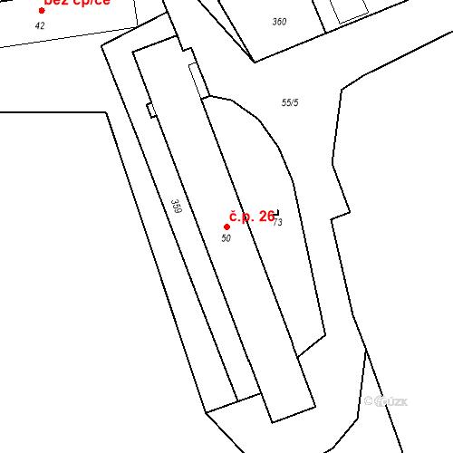 Katastrální mapa Stavební objekt Předboř 26, Strančice